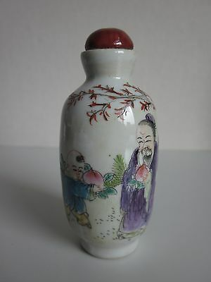 Chinese Famille Rose Porcelain Handmade People Peach Snuff bottle  s1287