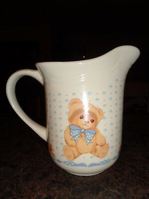 Teddy Bear Pitcher Tienshan Stoneware Large Creamer Made in Thailand RARE