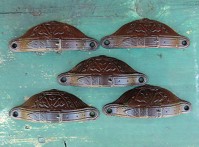 5 Lot Antique vtg c1870s Russell Erwin Cast Iron BELT BUCKLE Drawer Pull HANDLE