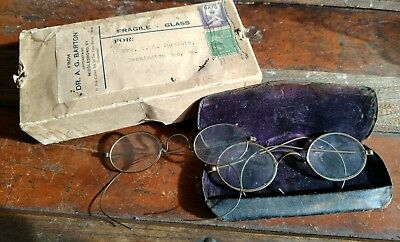 Rare 2 pairs antique eyeglasses original case and shipping box estate find