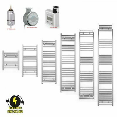 Bathroom Electric Thermostat Chrome Flat Heated Towel Rail Radiator 650mm Wide