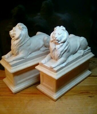 Vintage 1965 Replica PAIR OF LION BOOKENDS New York ALVA Museum. Super Heavy!
