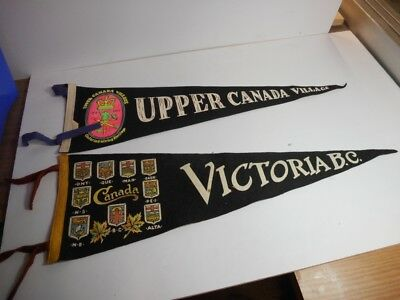 Two Rare Vintage Canadian Travel Pennants With Full Color Crests/artwork