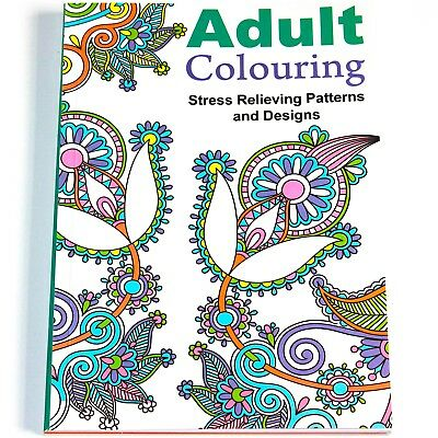A4 Colour Therapy Anti Stress Relax Adult Colouring Book 24 Relief Pages