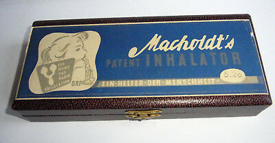 Macholdt`s Patent Inhalator mit Schatulle - vintage glass inhalator with case