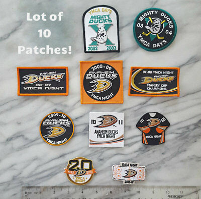 Lot of 10 VINTAGE NHL ANAHEIM MIGHTY DUCKS Iron on Patch YMCA DAYS Stanley Cup
