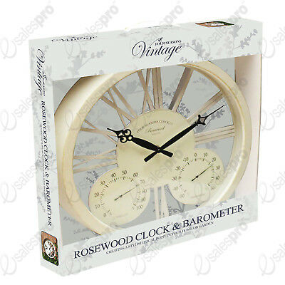 """15"""" White rosewood clock and barometer for outdoors or in"""