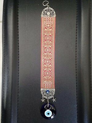 """Vintage Blue Glass EVIL EYE Tapestry Wall Hanging Charm Amulet Pendant 15"""" x 2"""""""