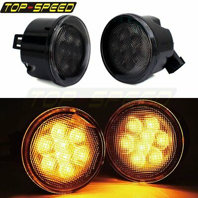 2X LED Amber Turn Signal Side Light Lamp Grill Cover For Jeep Wrangler JK 07-17