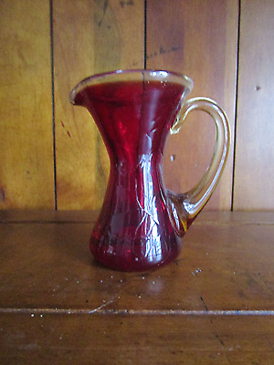 Vintage Red/Ruby/Cranberry with Amber Hand Blown Crackle Glass Pitcher