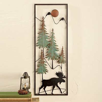💗 Metal Woodland Moose Wall Art Decor Rustic Lodge Log Cabin Hanging Picture