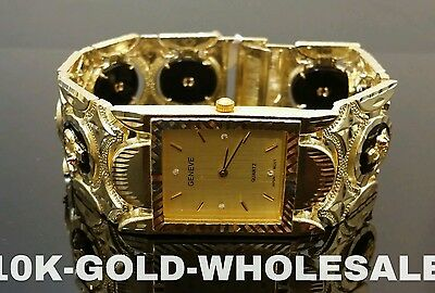 Mens 10K Yellow Gold Onyx Geneve Hip Hop Style Watch 02583