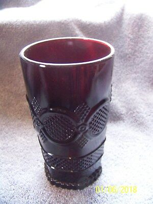 Vintage AVON 1876 Cape Cod Ruby Red Glass Tumbler Water Glasses MINT