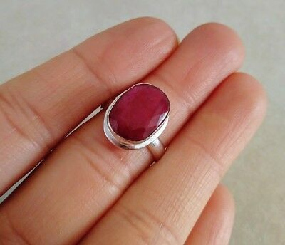 Natural Oval Red Ruby 925 Sterling Silver Ring Size 6.5, 7, 8 Choose Handmade