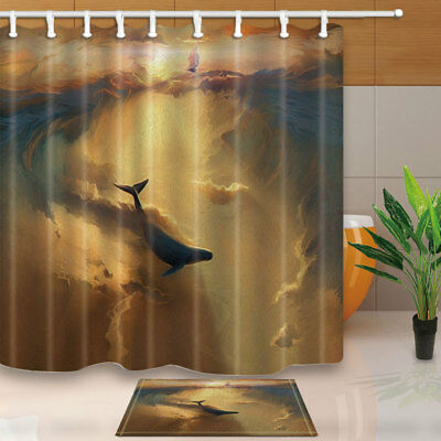 Whale and white clouds Shower Curtain Bathroom Decor Fabric & 12hooks 71*71inch
