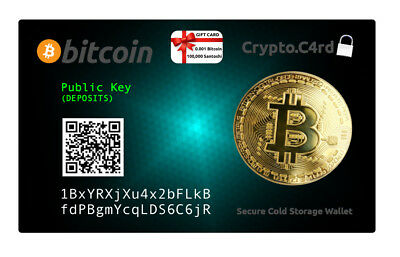 Bitcoin Gift Card 0.001 BTC & Secure Offline PVC Card Wallet = Safe Cold Storage