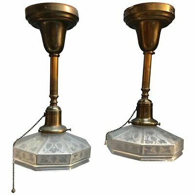 Pair of Industrial Etched Octagonal Glass Pendant Lights on Brass Poles