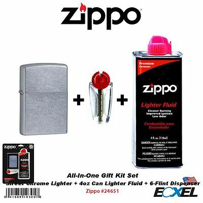 Zippo #24651 Lighter+Fluid+Flints, All-In-One Gift Kit, Street Chrome 207, Fuel