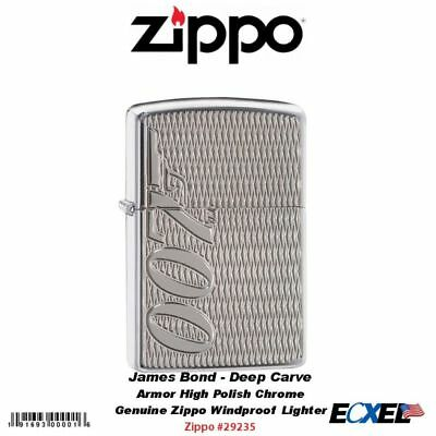 Zippo James Bond 007 Lighter, Armor High Polish Chrome Deep Carve #29550