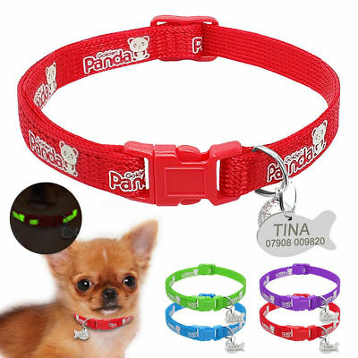Reflective Personalized Dog Kitten Cat Collar & Tag Engraved for Pet Puppy &Bell