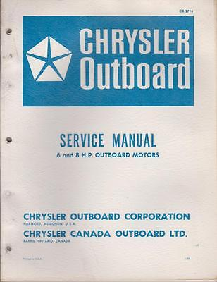 Chrysler Outboard Motor Service Manual 6 and 8 HP OB2714 - Fair
