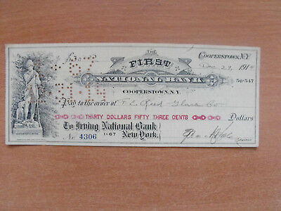 USA First National Bank Cooperstown Scheck 1914 dekorativ