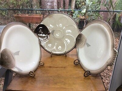 Antique Longwy Fish Shaped Oyster Plate And Matching Plate Set (3 Pieces)