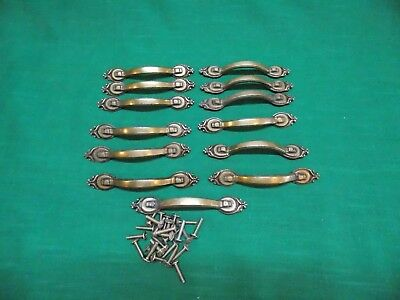 Lot of 13 used brass plated handle pulls. Furniture, cabinet drawer. With bolts