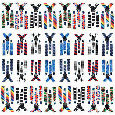 Strong Kids Braces With Fashion Printed Logo For Kids Boys Girls Suspenders UK