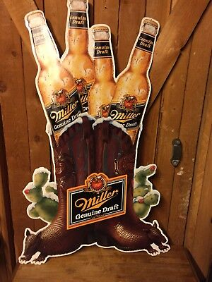 VINTAGE MILLER Beer Sign EMBOSSED TIN COWBOY BOOT w/Armadillo Feet Tall Metal