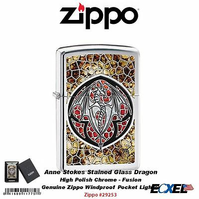 Zippo Anne Stokes Stained Glass Dragon Lighter, High Pol. Chrome, Fusion #29253