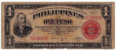 1941 (ONE PESO ) (SILVER CERTIFICATE) RED (PHILIPPINES- US) --scarce- wartime-