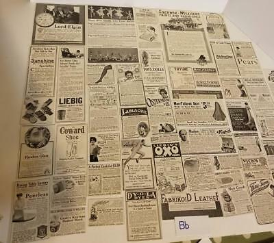 50 antique Magazine ads 1900's advertising lot vintage paper clippings b