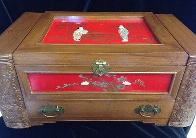 Vintage Large Carved WOODEN JEWELRY Box Chest ASIAN ORIENTAL