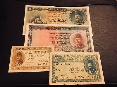 EGYPT 5 POUNDS King Farouk , 1 pounds ,10 and 5 P 4 notes VF rare notes