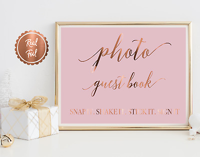 Photo guest book sign / real copper foil print / wedding decor signage guestbook