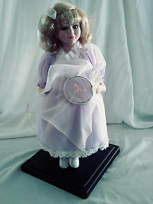 """Vintage Doll ~Sitting Girl Doing Needlepoint Porcelain Doll~With Stands~16"""" Tall"""