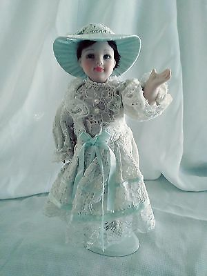 """Vintage Doll~Adorable Doll in White Lace Dress with Hat ~ With Stand~9"""" Tall"""