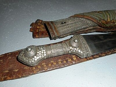 ANTIQUE SILVER WAHABITE JAMBIYA DAGGER AND BELT, 19 th, ARAB KNIFE FOR COLLECTOR