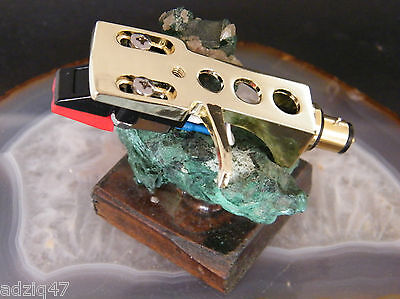 Cell + Diamond Mounted Turntable Headshell Gold Fix Gold Sme Turntable Vintage