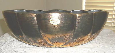 1950's Stangl Black Brushed 22K Gold Hand Painted Vase Planter Paper Label 2064