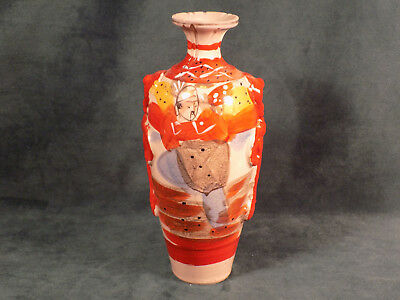 Antique Clay Ceramic Japanese Vase Samurai Hand Painted