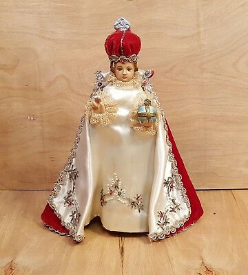 Vtg INFANT of PRAGUE CHALKWARE STATUE w/ Vestments ~ Columbia Statuary Italy 145