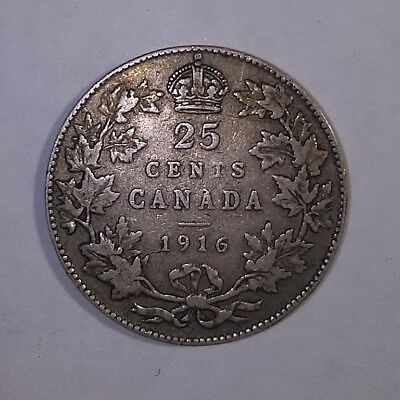 1916 Canada Silver 25 Cents Quarter Dollar Coin King George V