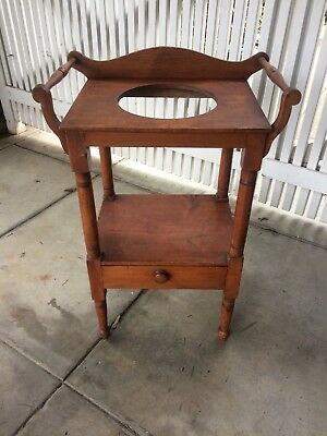 1800's Antique Wooden Wash Stand Or Night Stand Bowl/ Pitcher (Not Included)