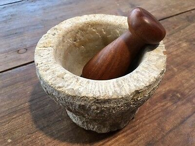 Unique hand carved stone mortar and hardwood pestle