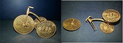 Neat Miniature Hand Made Copper Tricycle Made With English 1/2 Pennies And Penny