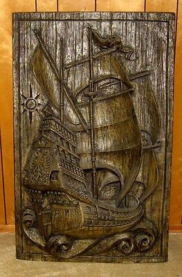 "Spanish Galleon ""Pirate"" Ship 3D Wall Sculpture- 1967 Vanguard Studios Vanathane"
