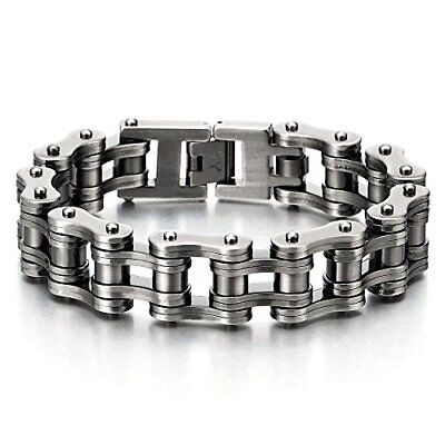 Heavy-duty Mens Bike Chain Bracelet Stainless Steel Old Metal Treatment Retro...