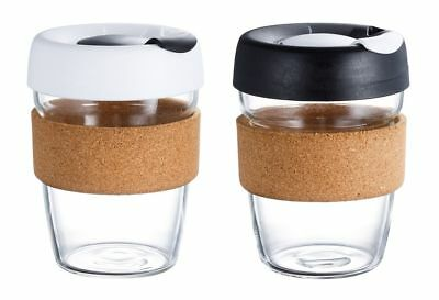 Reusable Glass Coffee Cup with cork sleeve 12oz / 340ml Black or White lids.
